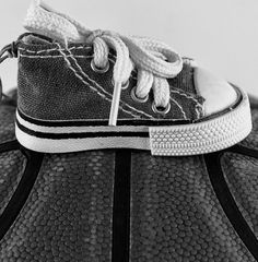 Small Shoe on Basketball Poster Kids Room Wall by PhotoDesignLab