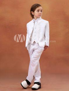 Charming White Satin Wedding Ring Bearer Suits
