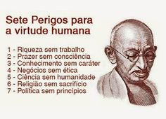 Seven Dangers to Human Virtue Wealth without work Pleasure without conscience Knowledge without character Business without ethics Science without humanity Religion without sacrifice Politics without principle Wise Quotes, Famous Quotes, Inspirational Quotes, Gandhi Quotes, Motivational, Amazing Quotes, Great Quotes, General Quotes, Its Friday Quotes