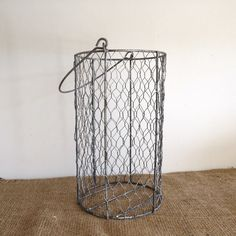 Vintage wire basket. Home decor. Waste basket. Storage. Rustic.
