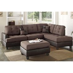 Bobkona Matthew Reversible Sectional With Ottoman