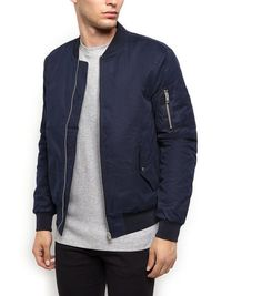 Navy Bomber Jacket | New Look