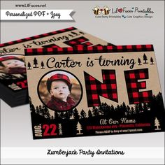 Lumberjack First Birthday Party Photo Printable Invitation - Printable DIY Invitation - Personalized Invite card DIY party printables will save you time and money while making your planning a snap!