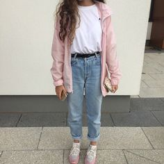 aesthetic, bambi, clothes, girl, grunge, jeans, light, pale, pastel, pink, soft, white, mmilkeu