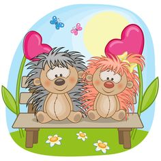 Lovers lovely animals vector set 04