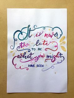It's never too late to be what you might have been - Hand-lettered motivational quote #art #lettering #creativelettering #brushlettering #etsy #etsyseller #etsyshop