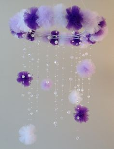 bebé de cristal móvil púrpura bebé móvil pom por JennabooBoutique
