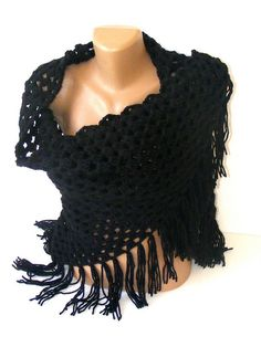 black crocheted shawlcrochet trendsnew fashion by seno on Etsy, $60.00