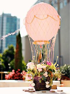 These would be so neat to use as table centerpieces and easy to make then you could arrive in a hot air balloon! Tuesday Top 10 Non Floral Centerpieces for your Wedding Reception Hot Air Balloon Centerpieces, Non Floral Centerpieces, Wedding Centerpieces, Floral Arrangements, Wedding Decorations, Wedding Ideas, Flower Arrangement, Centerpiece Ideas, Wedding Table