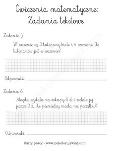 Karty-pracy-dla-dzieci-zadania-tekstowe-ćwiczenia-do-wydruku-zadania-matematyka-dla-dzieci-za-darmo (2) 5 W, Science For Kids, Mathematics, Hand Lettering, Kindergarten, Math Equations, Education, School, Quotes