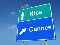 NICE--CANNES road sign Stock Photo