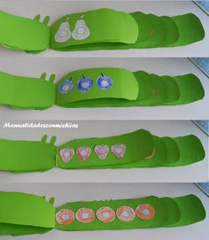 Manualidades con mis hijas: Hacemos un cuento The very hungry caterpillar - 7 años This is in Spanish but it has all the patterns. Very Hungry Caterpillar Printables, Hungry Caterpillar Food, Caterpillar Book, Kindergarten Literacy, Literacy Activities, Classroom Crafts, Preschool Crafts, Chenille Affamée, Spring Activities