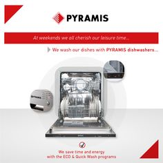 At weekends we all cherish our leisure time! With Pyramis dishwashers, your dishes shine bright fast and easily at a push of a button! Kitchen Sink, Kitchen Appliances, Oven And Hob, Cooker Hoods, Electrical Appliances, Dishwashers, Quality Kitchens, Bright, Dishes