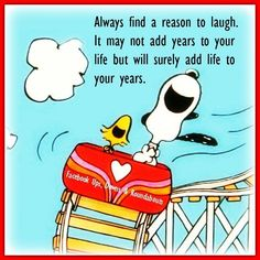 Snoopy and Woostock in a Roller Coaster With Caption - Always Find a Reason to Laugh - It May Not Add Years to Your Life But Will Surely Add Life to Your Years! Charlie Brown Quotes, Charlie Brown And Snoopy, Citations Sages, Peanuts Quotes, Snoopy Quotes Love, Snoopy Pictures, Snoopy Images, Snoopy And Woodstock, Positive Quotes