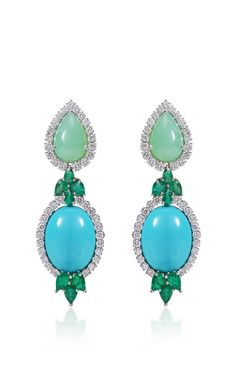 Emerald Earrings Emerald Turquoise And Chrysophrase Earrings by Farah Khan Fine Jewelry for Preorder on Moda Operandi Good, Great, or just OK? Sapphire Earrings, Turquoise Earrings, Gemstone Earrings, Gold Earrings, Luxury Jewelry, Modern Jewelry, Vintage Jewelry, Fall Jewelry, Bridal Jewelry