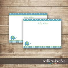 Chevron & Elephant Baby Note Card / Baby Shower Baby Wishes Card / Baby Boy Shower / Blue and Lime Green - INSTANT DOWNLOAD - Printable