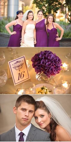 purple hydrangea. I love those flowers! Love his tie and gray suit, too. Centerpieces, decor.
