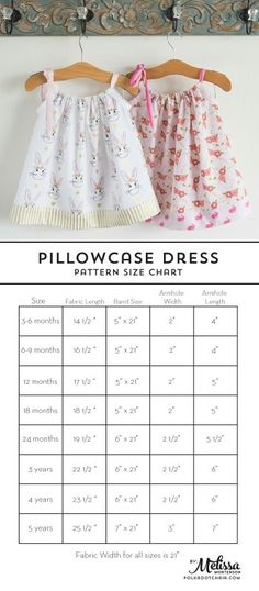 Size chart for pillowcase dress