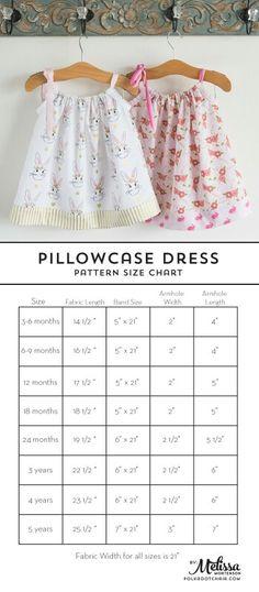Size chart for pillowcase dress