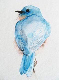Little Blue Bird's Back - Original Watercolor Painting