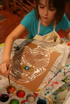 * Salt and Glue Watercolor Paintings! Amazing, great for a native american sand painting lesson