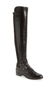 Free shipping and returns on Stuart Weitzman 'Renegade' Boot (Women) at Nordstrom.com. A trio of buckle straps at the vamp amplify the moto edge of a knee-high boot cast in smooth leather with a stretch back panel to ensure a custom fit.
