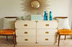 diy home decor blog vintage campaign dresser painted | Serial Indulgence