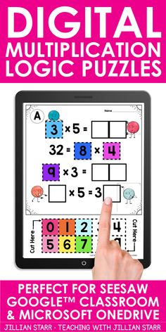These Multiplication Logic Puzzles come in BOTH printable worksheets and digital slide versions. Digital versions are perfect for teaching with Google Classroom, Google Slides, Microsoft OneDrive and Seesaw. Use these activities to practice multiplication tables and building multiplication fact fluency at math centers, enrichment support for your early finishers, math stations, for distance and online learning, and more! Perfect for 3rd Classroom Fun, Google Classroom, Classroom Resources, Teacher Resources, Teaching Ideas, Multiplication Tables, Learning Multiplication, Math Stations, Math Centers
