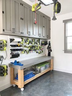 DIY Cabinets For A Garage, Workshop or Craft Room! - Shanty 2 Chic - Build your own DIY Cabinets with free plans and how-to tutorial! These are easy to build and perfect for a garage, work shop or a craft room! Garage Organization Tips, Garage Storage Solutions, Diy Garage Storage, Storage Ideas, Diy Garage Work Bench, Garage Shelving, Organizing, Garage Storage Cabinets, Garage House