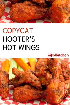 Made with hot wing sauce, cayenne pepper, chicken wings, whole wheat flour… Hot Wing Sauces, Chicken Wing Sauces, Baked Chicken Wings, Chicken Wing Recipes, Meat Recipes, Appetizer Recipes, Cooking Recipes, Appetizers, Fried Chicken