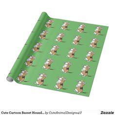 Cute Cartoon Basset Hound with Newspaper Wrapping Paper Basset Hound, Green Backgrounds, Cute Cartoon, Newspaper, Wrapping, Wraps, Parties, Entertaining, Happy