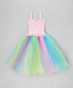 Look what I found on #zulily! Light Pink Rainbow Cindy Dress - Toddler & Girls #zulilyfinds