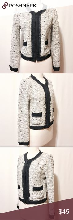 """💫 it MICHAA Ivory & Navy Bouclé Statement Jacket Classic updated! Chic silhouette with two patch pockets navy gross grain and organza trim made current in a shimmering sparkle cream navy and silver stretch Bouclé. Hook and eye front closure. Dry Clean Only 38"""" Bust 21""""overall length 25"""" sleeve length it MICHAA Jackets & Coats Blazers"""