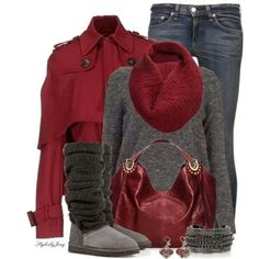Cute and Casual Outfit ~ Love the maroon bag & color combo