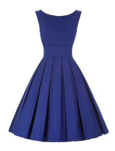 1950s Vintage Style Elegant Pleated Dress - Blue