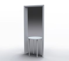 Mirror Table for Porro | Front  [A Table and mirror that creates the illusion of a door opening to a room next door]