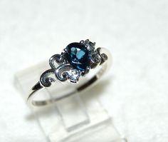 London Blue Topaz Ring Size 5 White Topaz by WindstoneDesigns Gems Jewelry, Jewelry Art, Jewelery, Blue Topaz Ring, White Topaz, Vintage Engagement Rings, Vintage Rings, Pretty Rings, Size 10 Rings