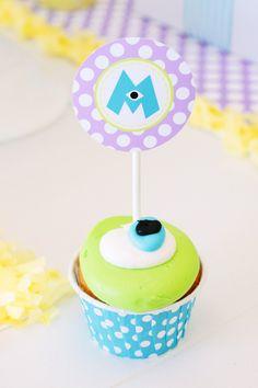 Mike Wazowski Cupcakes!! @Hilary Matthews!!!  Party supplies, printables and photography: Petite Party Studio