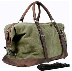 Vintage military Canvas Leather men travel bags Carry on Luggage bags Men Duffel bags travel tote large weekend Bag Overnight