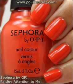 Sephora By Opi Paisley Attention To Me Is A Bright Vibrant Tangerine Creamy Crelly Nail Polii