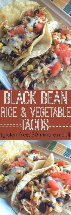 No one will even miss the meat with these hearty filling and delicious black bean rice & vegetable tacos. Pair with corn tortillas fresh diced tomato shredded cheese and sour cream for a healthy dinner that you will want to make again! The leftovers Veggie Recipes, Mexican Food Recipes, Whole Food Recipes, Cooking Recipes, Healthy Recipes, Corn Tortilla Recipes, Pasta Recipes, Veggie Dinners, Chicken Recipes