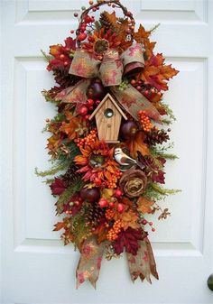 WREATHS AND SWAGS  http://www.timelessfloralcreations.com/FALL-BIRDHOUSE-SWAG.html