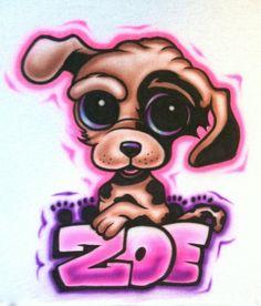 Airbrushed Dog Shirt by 57HeavenAirbrush on Etsy, $15.00