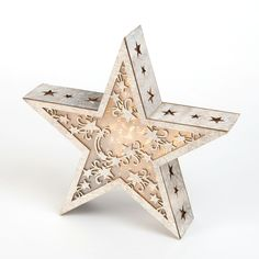 Light up wooden star decoration. http://www.worldstores.co.uk/p/Light_Up_Wooden_Star_Decoration.htm