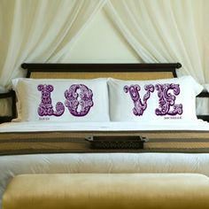 Couples Personalized Pillow Case Sets. | Available in three fun and romantic images with a selection of color choices | at www.agiftpersonalized.com #gift #personalized #wedding