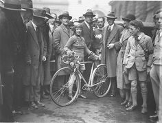 Stunning Vintage Photos of Australian Bike Culture in the Early 1900s | Billie Samuels leaving to ride from Sydney to Melbourne, in hopes of breaking the women's record in 3 days and 7 hours, on a Malvern Star bicycle, 4 July 1934, by Sam Hood