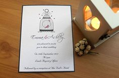Handmade Personalised Wedding Invitation shabby chic bird cage rustic vintage