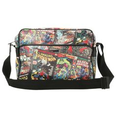 Marvel Comics Collage Messenger Bag | Hot Topic ($40) ❤ liked on Polyvore featuring bags, messenger bags, courier bag, marvel comics, messenger bag, marvel comics messenger bag and marvel comics bag
