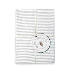 Burt's Bees Baby® Bee Essentials Stripe 100% Organic Cotton Fitted Crib Sheet in Grey