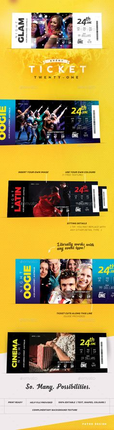 Event Tickets Template 21 by patoodesign Ill make it short: This ticket is a practical beauty. Its enjoyable to edit, looks fabulous and is suited for most event types. Stencil Templates, Print Templates, Templates Free, Event Ticket Template, Event Tickets, Newsletter Templates, Newsletter Ideas, Event Invitation Design, Free Typeface